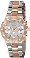 GUESS GVSS5) Women's Quartz Watch with Silver Dial Analogue Display and Pink Stainless Steel Bracelet W14551L1