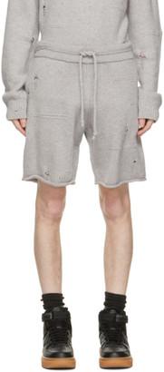 Helmut Lang Grey Wool Distressed Shorts