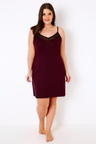 Yours Clothing Mulberry Purple Chemise With Mesh Insert