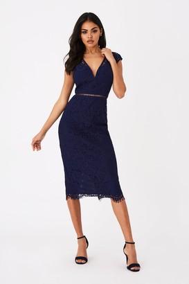 Girls On Film Caro Navy Lace Plunge Midi Dress