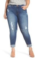 Melissa McCarthy Plus Size Women's Distressed Roll Cuff Straight Leg Jeans