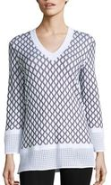 St. John Sport Collection Wool-Blend Patterned Top