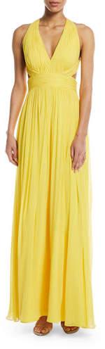 Aidan Mattox Shirred Silk Chiffon Cutout Gown