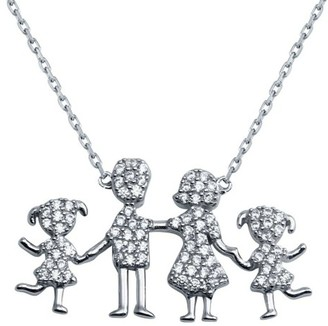 Cosanuova Sterling Silver Family Pendant Two Girls Necklace