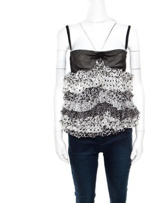 Dolce & Gabbana Monochrome Floral Printed Silk Ruffle Layered Sleeveless Bustier Top M