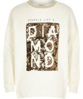 River Island Girls white sequin word sweatshirt