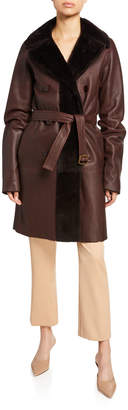 Sies Marjan Reversible Leather and Shearling Belted Coat