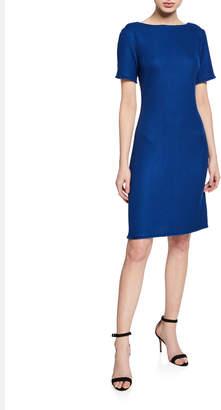 St. John Gridded Texture Bateau-Neck Short-Sleeve Dress w/ Fringe Trim