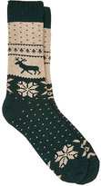 Barneys New York Men's Fair Isle Mid-Calf Socks-GREEN