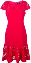 Marchesa embroidered panel fishtail dress - women - Polyester/Spandex/Elastane - 0