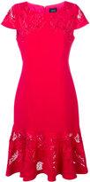 Marchesa embroidered panel fishtail dress - women - Polyester/Spandex/Elastane - 12