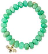 Sydney Evan Jewelry Chrysoprase Beaded Bracelet with Diamond Bee Charm