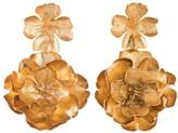 Natori Gold Brass Double Peony Earrings