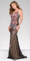 Jovani Multi Color Embroidered Lace Column Evening Dress