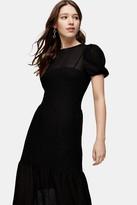 Topshop Black Textured Lace Midi Dress