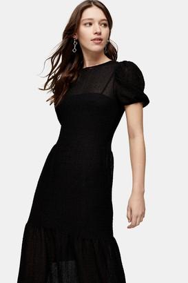 Topshop Womens Black Textured Lace Midi Dress - Black