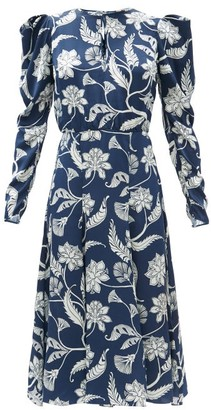 Johanna Ortiz Wild Blue Botanical-print Silk-charmeuse Dress - Navy Multi