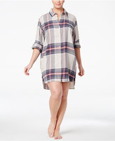 DKNY Plus Size Patterned Flannel Boyfriend Sleepshirt