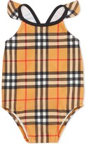 Burberry Ruffle Detail Vintage Check Swimsuit