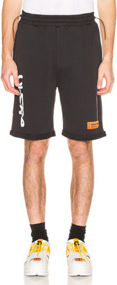 Heron Preston CTNMB Fleece Shorts in Black & White   FWRD