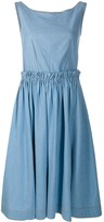 Marni exposed-dart pleated A-line chambray dress
