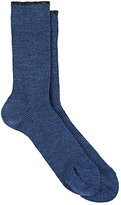 Maria La Rosa Women's Metallic-Trim Mid-Calf Socks-BLUE