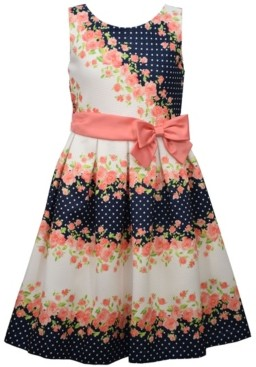 Bonnie Jean Big Girls Sleeveless Pique Striped Dress with Ribbon and Side Bow