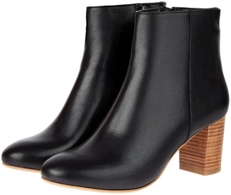 Monsoon Stacked Heel Leather Ankle Boots Black