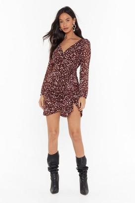 Nasty Gal Womens Go Wild Leopard Mini Dress - Burgundy