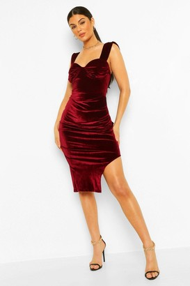 boohoo Velvet Ruched Cup Detail Midi Dress