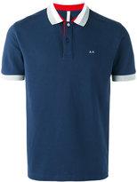 Sun 68 contrast polo shirt