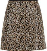 River Island Womens Silver sequin animal print mini skirt