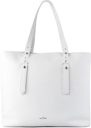 Hogan Shopping Bag In White Leather
