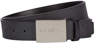 Burberry Plaque Logo Buckle Belt