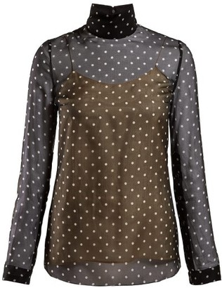 Prada Polka-dot Silk-chiffon Blouse - Womens - Black Multi