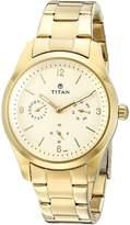 Titan Women's 9962YM01 Purple Analog Display Quartz Gold Watch