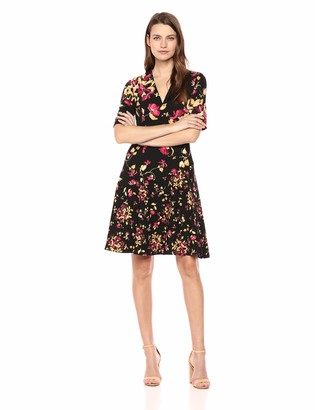 London Times Women's Elbow Sleeve V Neck Crepe FIT and Flare Dress