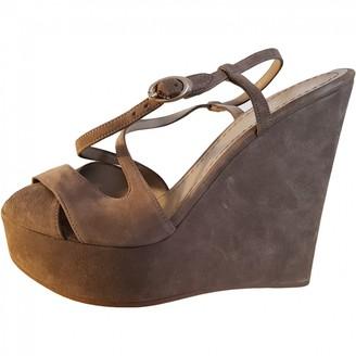Fendi Grey Suede Sandals