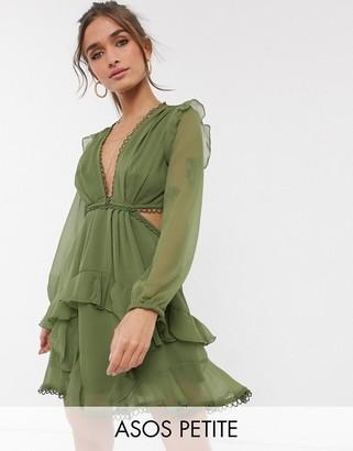 Asos DESIGN Petite mini dress with long sleeve and circle trim in khaki