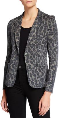 Majestic Filatures Leopard Print Cotton/Cashmere Blazer