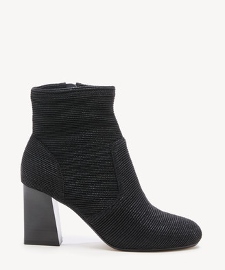 Sole Society Women's Cassity Sock Bootie Black Size 5 STRETCH SHIMMER From