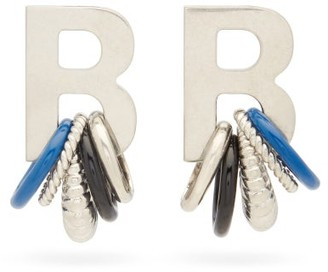 Balenciaga Multirings Xl B-logo Earrings - Womens - Silver Multi