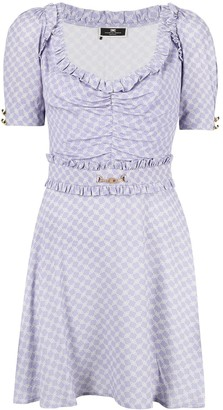 Elisabetta Franchi Horsebit-Print Short-Sleeve Midi Dress