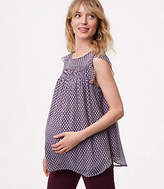 LOFT Maternity Diamond Smocked Flutter Top