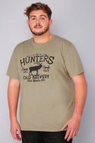 "Yours Clothing BadRhino Khaki ""Hunter"" T-Shirt"
