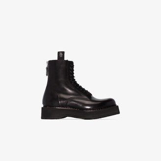 R 13 black single Stack 40 leather boots