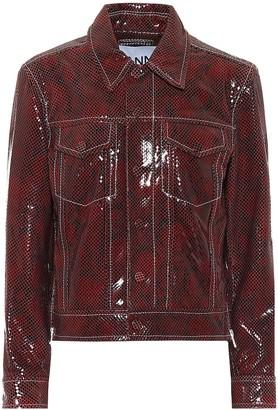 Ganni Snake-effect leather biker jacket