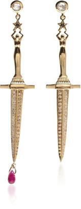 Pamela Love Dagger 18Kt Yellow-Gold White and Champagne Diamond Earrings