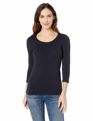 Lark & Ro Women's Three Quarter Sleeve Scoop Neck T-Shirt