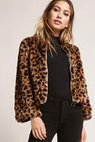 Forever 21 Leopard Print Faux Fur Cropped Jacket
